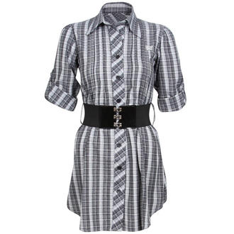 View Item Checkered Shirt Dress with Butterfly Stitching 